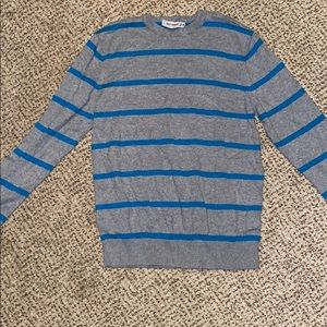 Thin gray/teal striped sweater